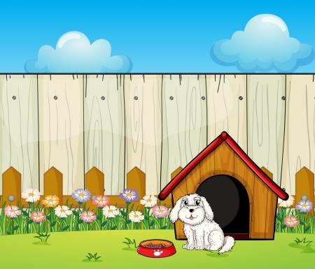 Illustration eines Hundes und der Hund Haus hinter dem Zaun Vektorgrafik