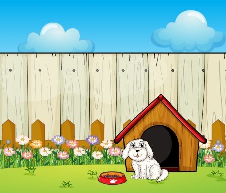 Illustration of a dog and the dog house inside the fence Vector