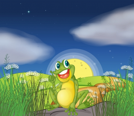 hill top: Illustration of a frog at the top of the hill Illustration