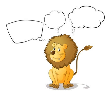 Illustration of a lion with empty thoughts on a white background Stock Vector - 17918324