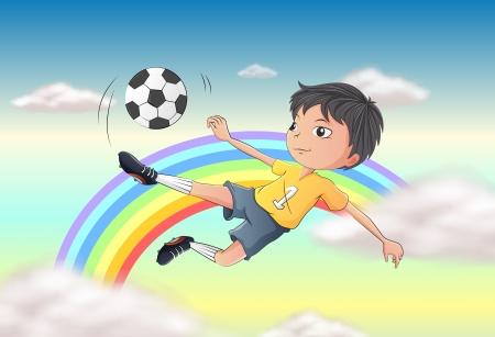 kicking ball: Illustration of a boy playing soccer Illustration
