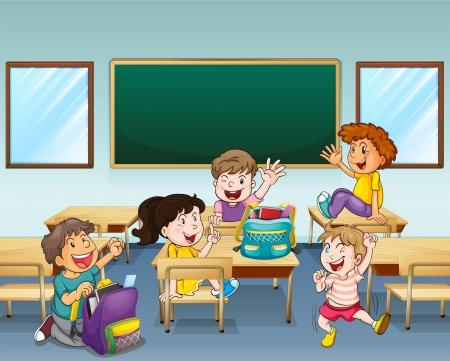salon de clases: Ilustraci�n de estudiantes felices dentro de un aula