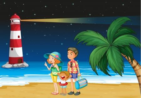 parola: Illustration of a family at the beach near the parola Illustration