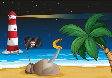 Illustration of a pirate flag and a sword at the seashore Vector