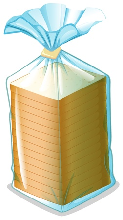 toast bread: Illustration of a pack of sliced bread on a white background Illustration