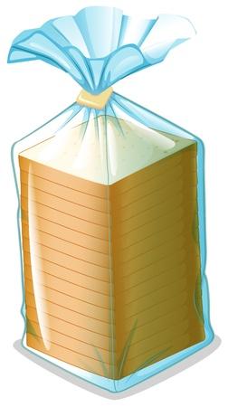 sliced: Ilustraci�n de un paquete de pan de molde sobre un fondo blanco