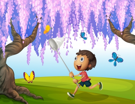 butterfly tree: Illustration of a boy catching butterflies at the park