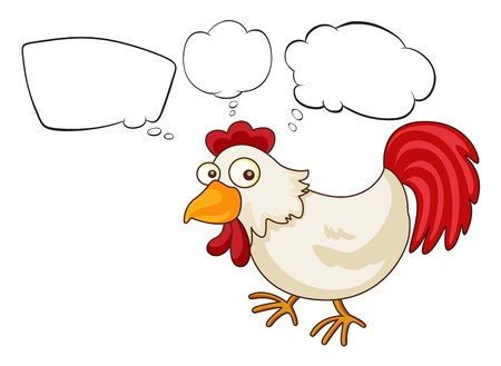 Illustration of a rooster with empty thoughts on a white background Vector