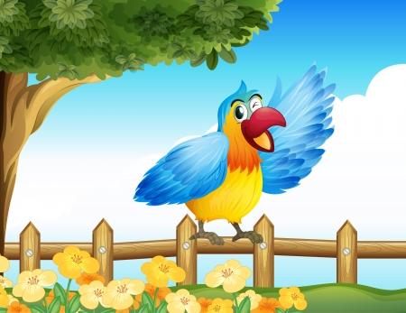 guacamaya caricatura: Ilustración de un pájaro colorido en la valla