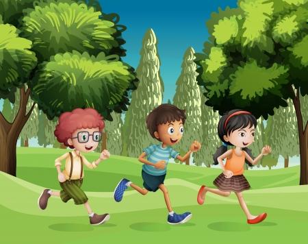Ilustración de los niños corriendo en el parque