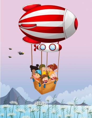 Illustration of an airship carrying kids Vector