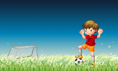 man in field: Illustration of a boy playing soccer Illustration