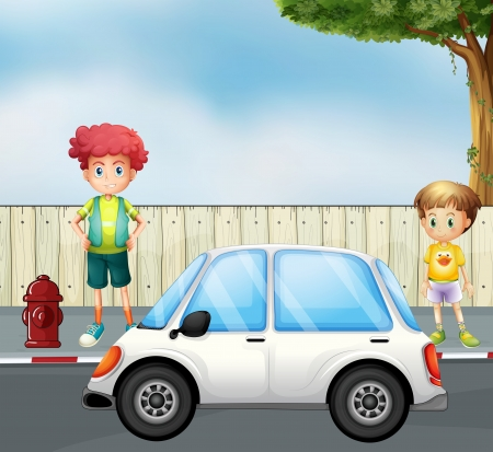 Illustration of a boy and a child at the street with a car Vector