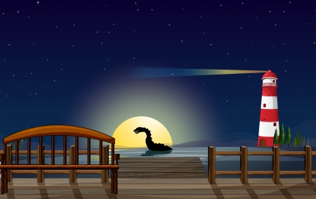 Illustration of a scary sea creature near the wooden bridge Vector