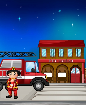Illustration of a fireman near the fire station Vector
