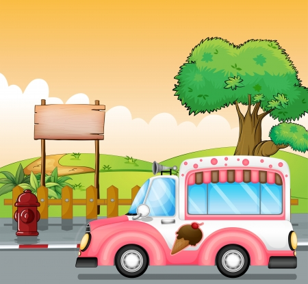 Illustration of a pink ice cream bus and an empty board Vector