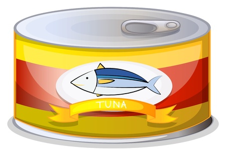 canned goods: Illustration of a can of tuna on a white background