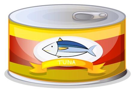 Illustrazione di una scatoletta di tonno su uno sfondo bianco Vettoriali