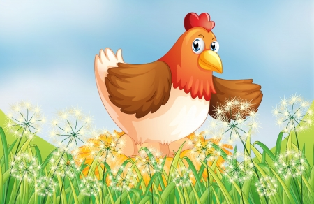 Illustration of a hen laying eggs Stock Vector - 17918363