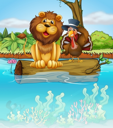 Illustration of a lion and a turkey above a floating trunk Vector