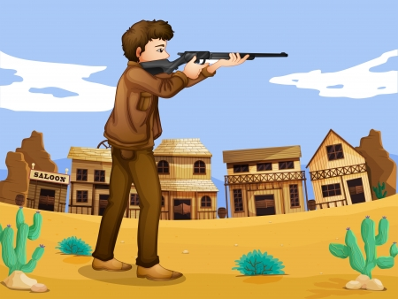 Illustration of a gunman in the neighborhood Vector