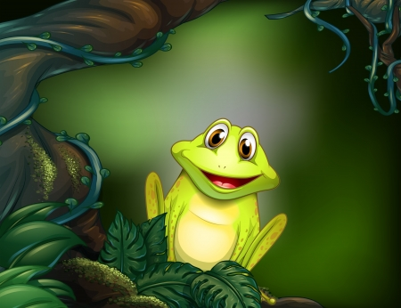 Illustration of a frog at the forest Vector