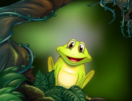 ojos marrones: Ilustración de una rana en el bosque Vectores