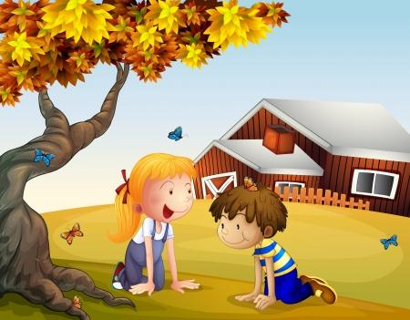 Illustratie van kinderen spelen met de vlinders in de buurt van een grote boom Vector Illustratie