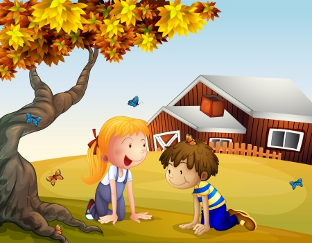 the yard: Illustration of kids playing with the butterflies near a big tree