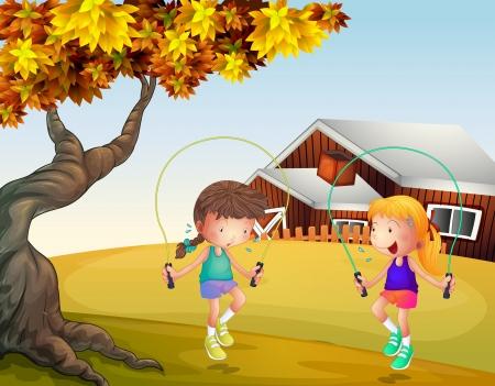 back yard: Illustration of two girls playing jumping rope at the backyard Illustration