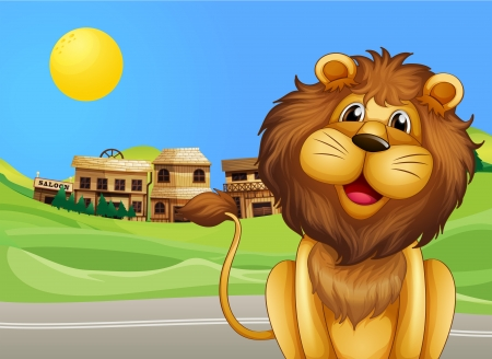 Illustration of a lion across the village Vector