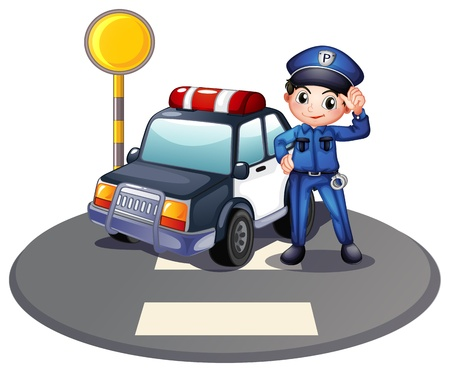 police cartoon: Illustration of a patrol car and the policeman near the traffic light on a white background