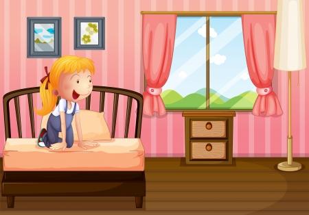 innen: Illustration eines Kindes in ihrem sauberen Schlafzimmer