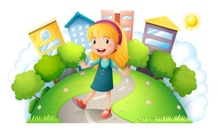 Illustration of a girl at the top of the hill with buildings on a white background Vector