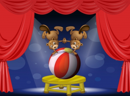 centerstage: Illustration of a circus show with the beavers