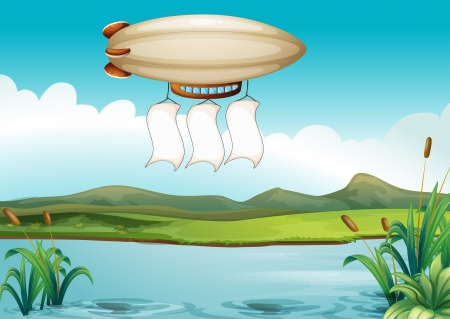 river water: Illustration of a blimp carrying three empty banners Illustration