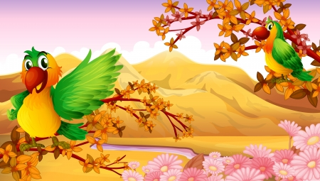 landscape: Illustration of two colorful birds near the river