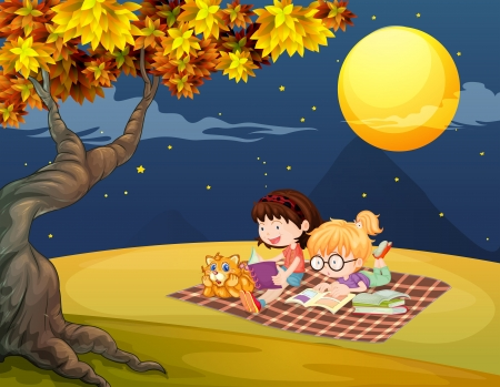 picnic blanket: Illustration of girls reading under the bright full moon