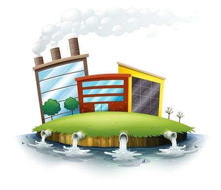 plantes aquatiques: Illustration de la vue sur la ville sur un fond blanc Illustration