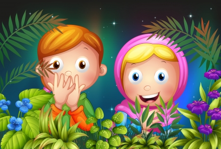 kids garden: Illustration of a young girl and boy hiding in the garden