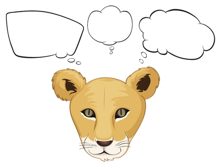 Illustration of a head of a tiger with empty thoughts on a white background Vector