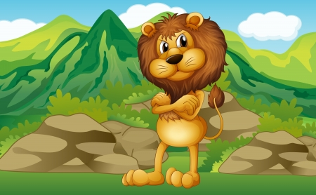 Illustration of a lion with a mountain view at his back Stock Vector - 17918467