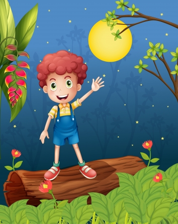 man in the moon: Illustration of a young boy waving his hand