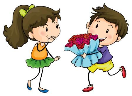 novio: Ilustración de un muchacho que da a su novia un ramo de flores sobre un fondo blanco Vectores