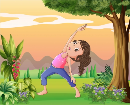 cartoon ear: Illustration of a lady exercising near a big tree Illustration