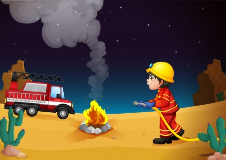 fire truck: Illustration of a fireman in the desert