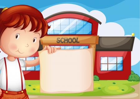 Illustration of a child holding an empty piece of paper in front of the school Vector
