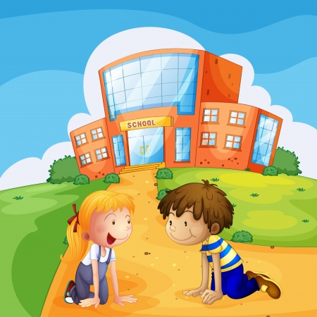 Illustration of two kids in front of the school Vector