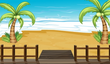 cartoon beach: Illustration of the seaside view with coconut trees Illustration