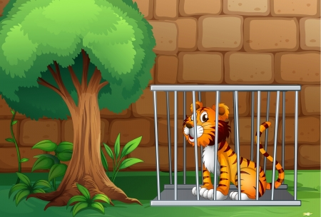 Illustration of a cage with a tiger Vector